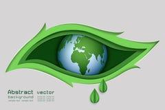 Diseño de papel de concepto verde de la naturaleza, el ojo del arte en fondo del extracto de la forma de hoja Imagen de archivo