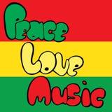Diseño de paz, de amor y de música en estilo de la burbuja en colores verdes, amarillos y rojos Ilustración del vector ilustración del vector