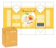 Diseño de pequeña caja del batido del jugo o de leche Foto de archivo