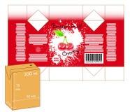 Diseño de pequeña caja del batido del jugo o de leche Imagenes de archivo