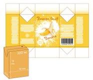 Diseño de pequeña caja del batido del jugo o de leche Imágenes de archivo libres de regalías
