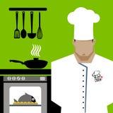 Diseño de personaje de dibujos animados de Serving Food Realistic del cocinero del cocinero Fotos de archivo