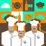 Diseño de personaje de dibujos animados de Serving Food Realistic del cocinero del cocinero Fotografía de archivo libre de regalías