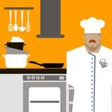 Diseño de personaje de dibujos animados de Serving Food Realistic del cocinero del cocinero Foto de archivo libre de regalías