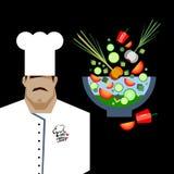 Diseño de personaje de dibujos animados de Serving Food Realistic del cocinero del cocinero Fotos de archivo libres de regalías