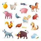 Diseño de personaje de dibujos animados de animales del campo Animales domésticos lindos Foto de archivo