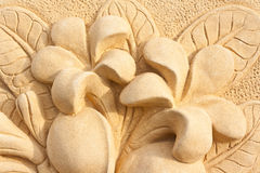 Diseño de piedra del arte del arte del Plumeria Fotografía de archivo