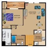 Diseño de plan de piso 3D Fotos de archivo libres de regalías