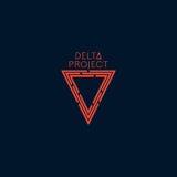Diseño de proyecto del delta Logotipo anaranjado del color con el fondo azul marino Fotografía de archivo libre de regalías
