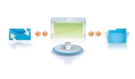 Diseño de red de las conexiones del email Fotografía de archivo