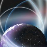 Diseño de red de las conexiones del globo del mundo Fotos de archivo