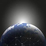 Diseño de red de las conexiones del globo del mundo Fotos de archivo libres de regalías