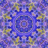 Diseño de seda floral detallado de la bufanda Modelo adornado formado redondo ilustración del vector