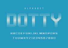 Diseño de semitono manchado de la fuente de la exhibición, alfabeto, tipografía, letras ilustración del vector