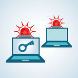Diseño de sistema de seguridad, advertencia y concepto de la tecnología Imagen de archivo libre de regalías