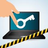 Diseño de sistema de seguridad, advertencia y concepto de la tecnología Imagen de archivo