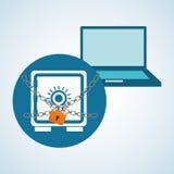 Diseño de sistema de seguridad, advertencia y concepto de la tecnología Fotos de archivo libres de regalías