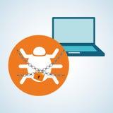 Diseño de sistema de seguridad, advertencia y concepto de la tecnología Fotos de archivo