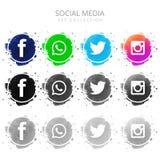 Diseño de sistema social colorido moderno de los iconos de los medios libre illustration