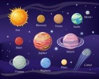 Diseño de sistemas solar Espacio con los planetas y las estrellas Fotos de archivo