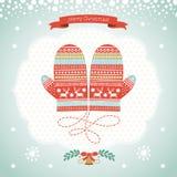 Diseño de tarjeta con las manoplas de la Navidad Fotos de archivo libres de regalías