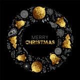 Diseño de tarjeta de la decoración de la guirnalda de la Feliz Navidad del oro Imagenes de archivo