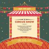 Diseño de tarjeta de la ducha del circo con la tienda Imágenes de archivo libres de regalías