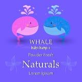 Diseño de tarjeta de la fiesta de bienvenida al bebé con la ballena Imágenes de archivo libres de regalías