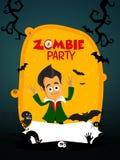 Diseño de tarjeta de la invitación del partido del zombi Fotografía de archivo libre de regalías