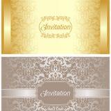 Diseño de tarjeta de la invitación en oro y colores plata Imágenes de archivo libres de regalías