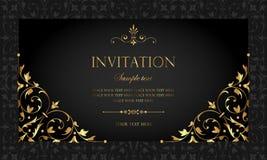 Diseño de tarjeta de la invitación - estilo de lujo del vintage del negro y del oro Imagenes de archivo