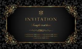 Diseño de tarjeta de la invitación - estilo de lujo del vintage del negro y del oro Imagen de archivo libre de regalías