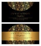 Diseño de tarjeta de la invitación - estilo de lujo del vintage del negro y del oro Imagen de archivo