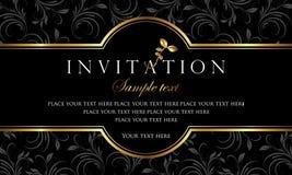 Diseño de tarjeta de la invitación - negro de lujo y estilo retro del oro Fotos de archivo libres de regalías
