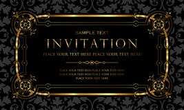 Diseño de tarjeta de la invitación - negro de lujo y estilo retro del oro Foto de archivo