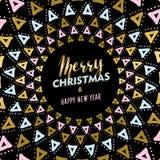 Diseño de tarjeta de la mandala de la Navidad y del oro del Año Nuevo Imagen de archivo