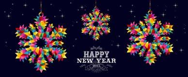 Diseño de tarjeta de los copos de nieve de la Feliz Año Nuevo 2015 Fotografía de archivo libre de regalías