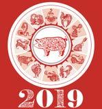 Diseño de tarjeta decorativo con el símbolo del cerdo y de 12 zodiacos del año 2019 Foto de archivo libre de regalías