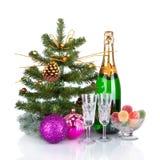 Diseño de tarjeta del Año Nuevo con Champán. Escena de la Navidad Imagen de archivo