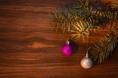 Diseño de tarjeta del Año Nuevo con la rama de un abeto Imagen de archivo libre de regalías