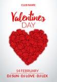 Diseño de tarjeta del día de San Valentín Corazón del ejemplo del diseño de las rosas Backgroud de la celebración de la boda del  Imagen de archivo libre de regalías