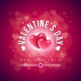 Diseño de tarjeta del día de tarjetas del día de San Valentín Imagen de archivo