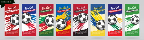 Diseño de tarjeta del fútbol, sistema del vector del fútbol Imagenes de archivo