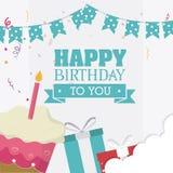 Diseño de tarjeta del feliz cumpleaños libre illustration
