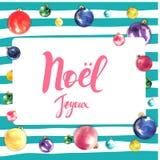 Diseño de tarjeta del marco de la Feliz Navidad con saludos en lengua francesa Frase del noel de Joyeux en fondo rayado con Foto de archivo libre de regalías