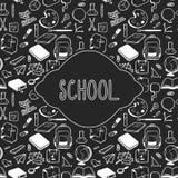 Diseño de tarjeta del tema de la escuela, elementos dibujados mano de la escuela Imagenes de archivo