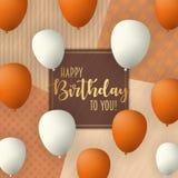 Diseño de tarjeta del vector del feliz cumpleaños con los baloons del vuelo Fondo de moda del vintage Imagen de archivo libre de regalías