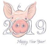 Diseño de tarjeta divertido de la Feliz Año Nuevo 2019 con la cara de los cerdos de la historieta Ilustración del vector libre illustration