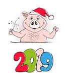 Diseño de tarjeta divertido de la Feliz Año Nuevo 2019 con la impresión del cerdo de la historieta Feliz Navidad stock de ilustración