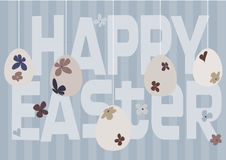 Diseño de tarjeta feliz de pascua con los huevos de Pascua florales Imagen de archivo libre de regalías